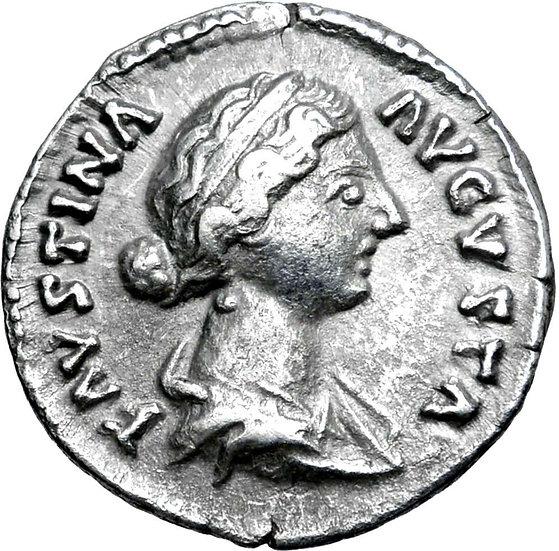 Moeda Romana Escassa de Faustina II (esposa de M. Aurelius) (161-175 dC)