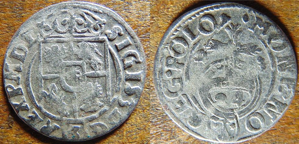 Moeda Antiga Prata Sigismund Polônia sec. XVII Polônia Zy