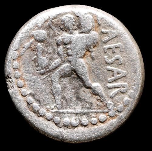 Moeda Romana Escassa de Júlio César (48-47 aC).