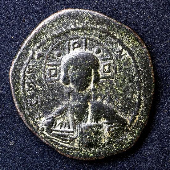 Moeda Bizantina  Follis Anônimo com Cristo (época de Romanus III - 1028-1034).