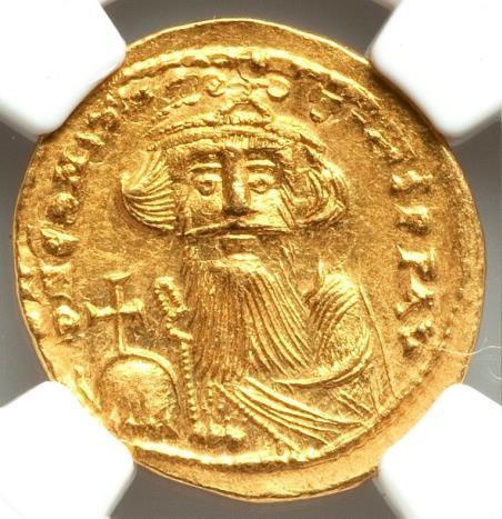 Moeda Bizantina Constans II Pogonatus (AD 641-668). AV solidus
