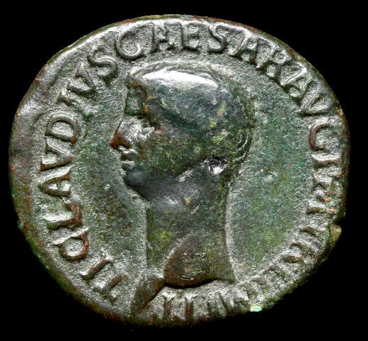 Moeda Romana Ae As de Cláudio (41-54 dC).