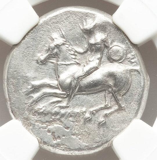 Moeda Grega Escassa Didracma de Prata da Calabria, Tarentum (Cerca de 200/300 aC