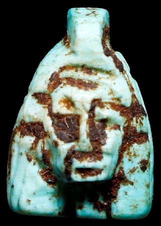 Artefato pequeno Pingente Egípcio em faiança Vitrificada com Busto faraônico pro