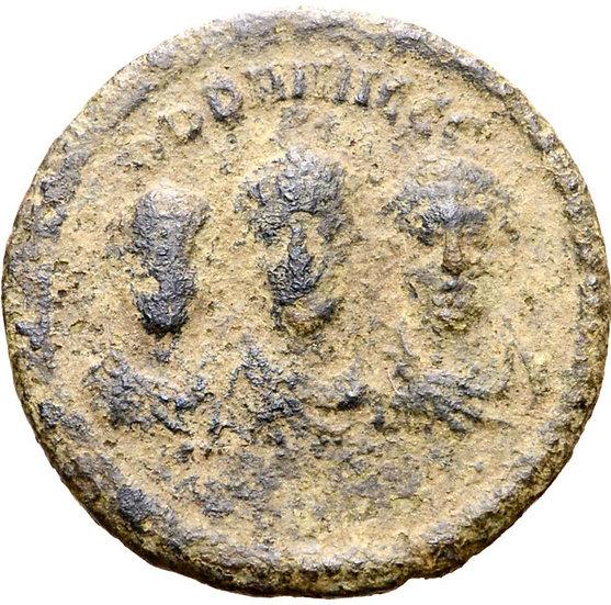 Moeda Romana com os três co-imperadores Teodósio I, Arcádio e Honório (402-408 )