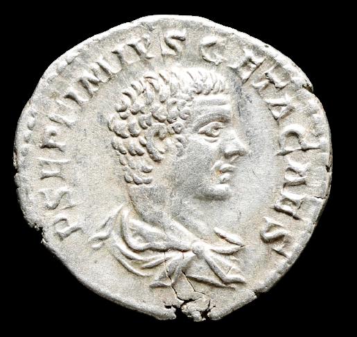 Moeda Romana Escassa Denário de Geta, como César (198-209 dC).
