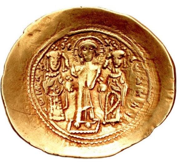 Moeda Bizantina Histamenon de Ouro de Romanus IV Diógenes, com Eudocia, Miguel V