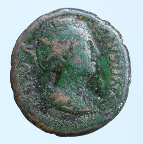 Moeda Romana DIVA FAUSTINA I (Died 140/1). Sestertius. Rome.