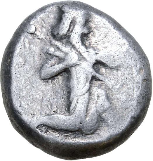 Moeda do Império Aquemênida Persa Siglos (época de Darios II).