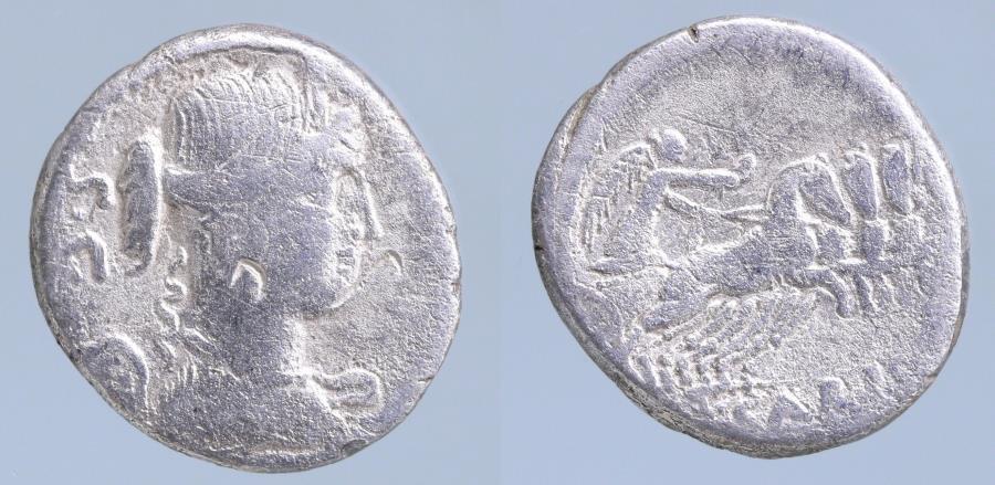 Moeda Romana: T. Carisius AR Denarius. Rome, 46 BC