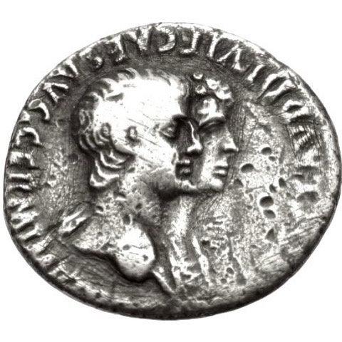Moeda Raríssima Denário Romano de Nero e Agrippina (54-68 dC)