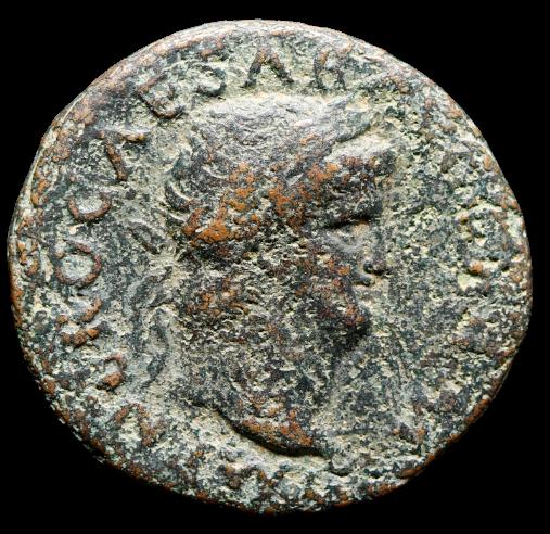 Moeda Romana Asse de Nero (54-68 dC). Cunhada em Roma, 65 dC.