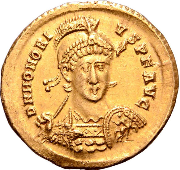 Moeda Romana Honorius AV Solidus. Constantinopla, 397-402dC
