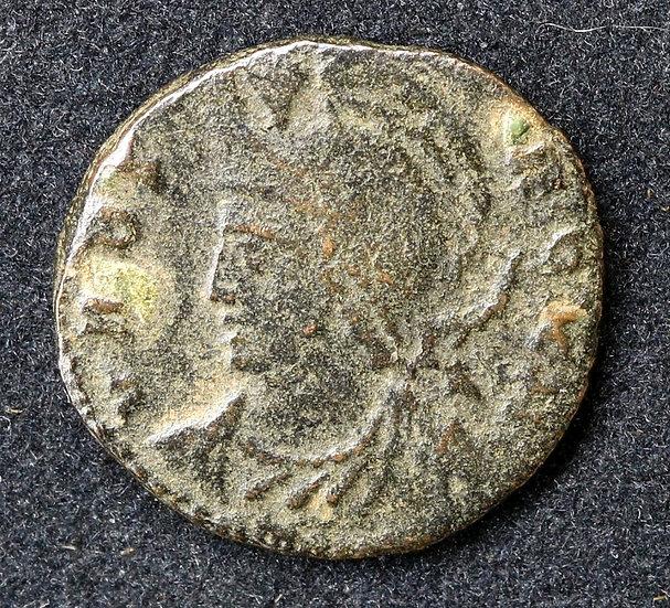 Moeda Romana Urbs Roma RARA reverso soldados 336-337dC