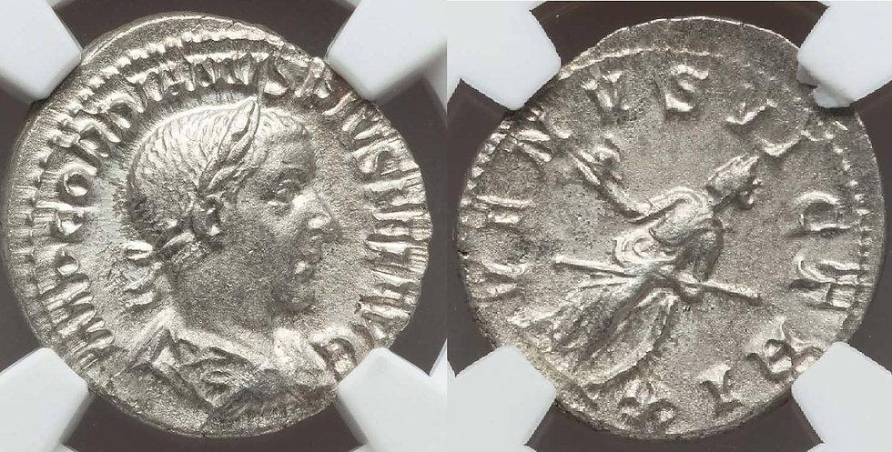 Moeda Romana Denário de Gordiano III Flor de Cunho NGC