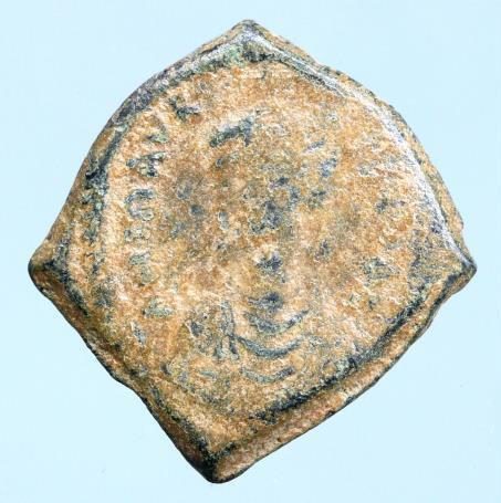 Moeda Bizantina Maurice Tiberius. 582-602. Æ Decanummium