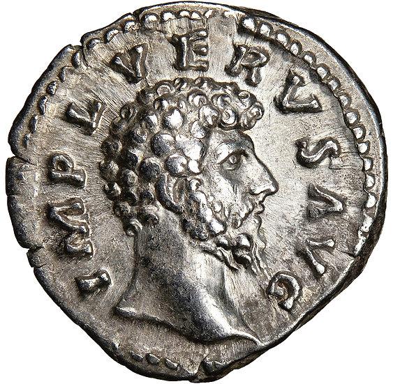 Moeda Romana Escassa Denário de Lucius Verus (161-169 dC)