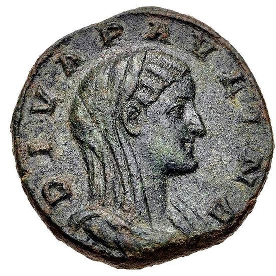 Moeda Romana Rara Sestércio de de Diva Paulina. 235 dC Æ Sestertius.
