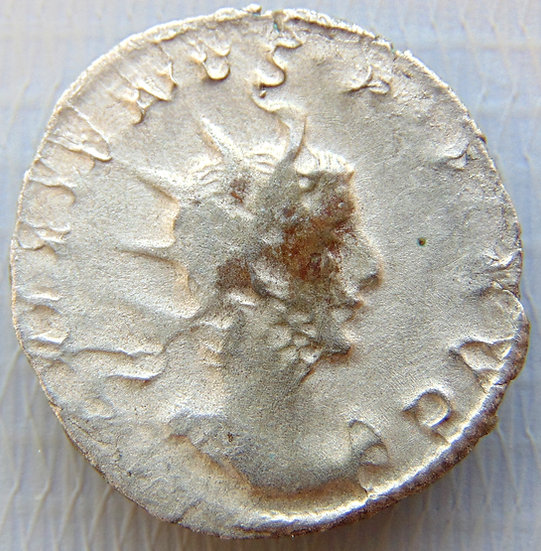 Moeda Romana Antoniniano Gallienus VICT GERMANICA LUGDUNUM 258-259dC