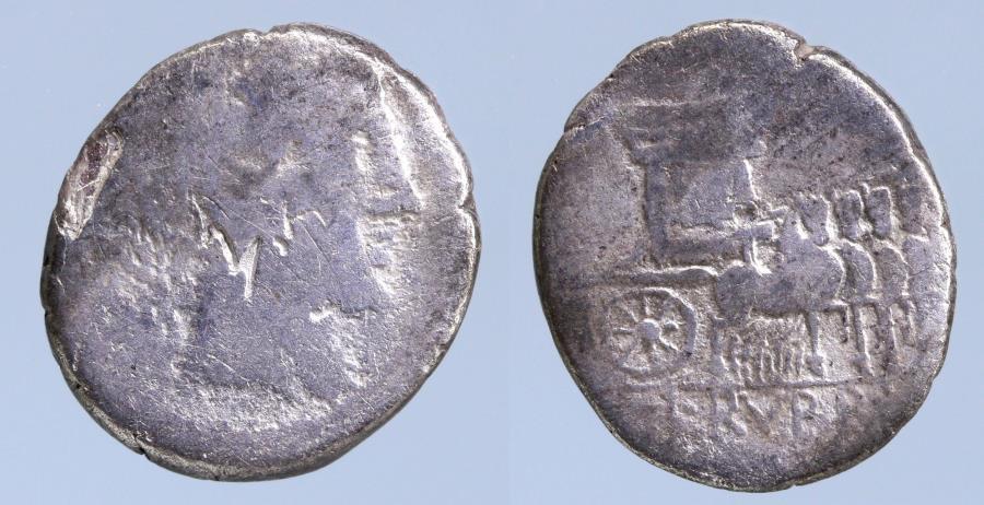 Moeda Romana:L. Rubrius Dossenus Denarius - AR Denarius (Rome 87 BC)