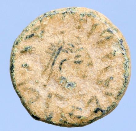 Moeda Bizantina Justin I. A.D. 518-527. Pentanummium (12mm, 2.15 g). Antioch min