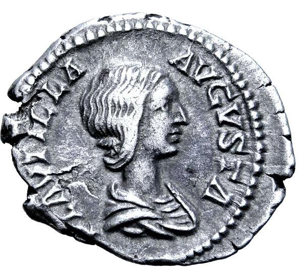Moeda Romana Escassa de Plautilla (esposa de Caracalla) 202-205 dC