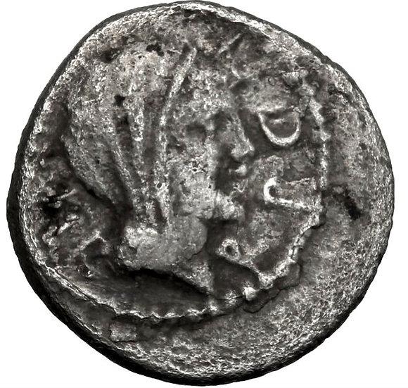 Moeda Romana Imperatorial RARA Quinarius de Marco Antônio 39 aC.
