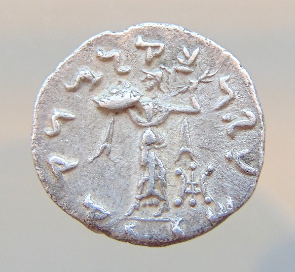 Dracma de Menander I - Baktria. Cerca de 165/55-130 aC.