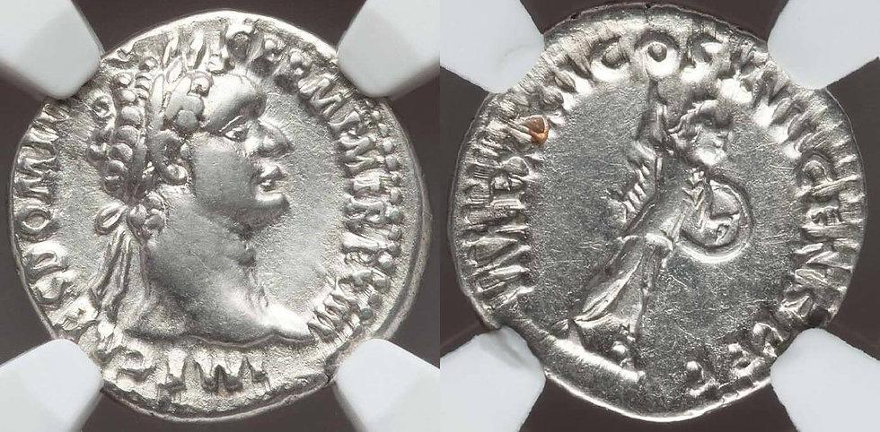 Lindo denário de Domiciano Certificado NGC! Domitian (81-96dC). AR denarius. NG