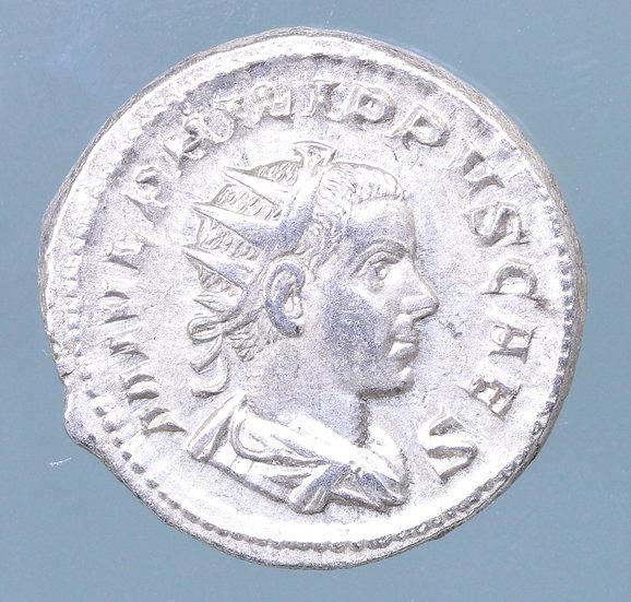Moeda Romana Antoniniano de Felipe II (escassa) 247-249 dC