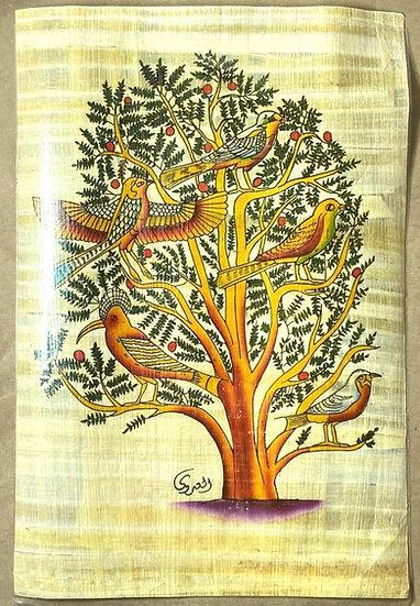 Papiro Egípcio Contemporâneo representando a Árvore da Vida da tradição Egípcia.