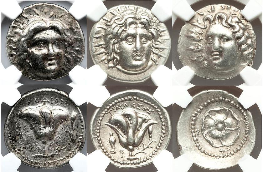 SET de 3 peças de Rhodes: Tetradracma, Didracma e Dracma - NGC!!