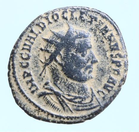Moeda Romana Diocletian Æ Radiate. Antioch, AD 296.