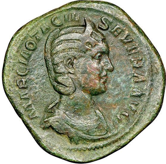 Moeda Romana Escassa Sestércio de Otacília Severa (244-249 dC)