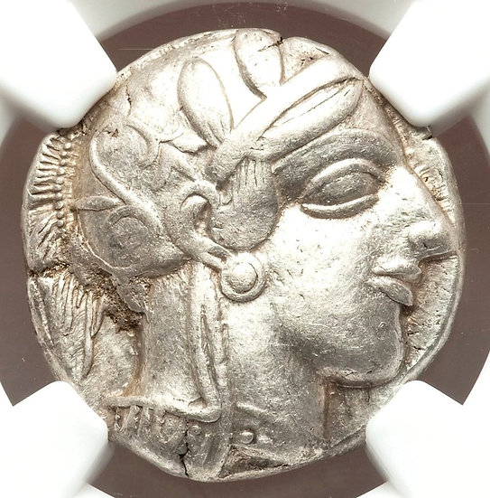 Moeda Grega Tetradracma da Attica Atenas - 440-404 aC NGC