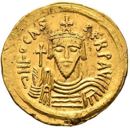 Moeda Bizantina Phocas, 602-610.Solidus (Gold, 21 mm, 4.45 g, 6 h),