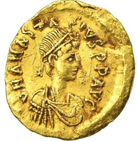 Moeda Bizantina Tremissis de ouro de Anastácio I.