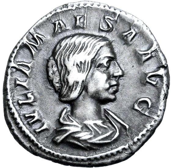 Moeda Escassa Denário de Julia Maesa (avó de Elagabalus), Roma (218-222 dC).