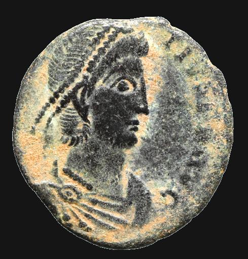 Moeda Romana de Constantius II (337-361 dC).