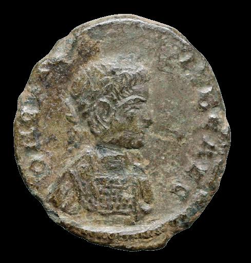 Moeda romana rara cunhagem étnica (bárbara), imitando Crispus (316 a 326 dC).