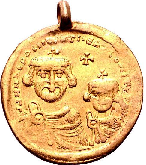 Moeda Bizantina de Heráclio, com Heráclio Constantino, AV Solidus. Constantinopl