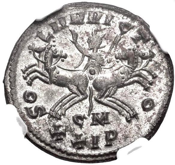 Moeda Romana Escassa Antoniniano de Probus (276-282 dC). Encapsulada NGC AU