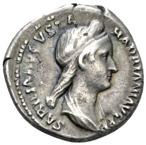 Moeda Escassa Denário de Sabina (Augusta, 128-136/7)