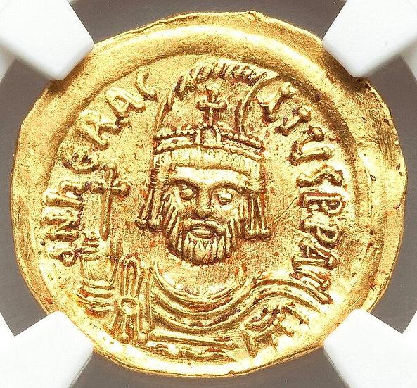Moeda Bizantina de Heraclius (610-641 dC). Peça certificada NGC AU.
