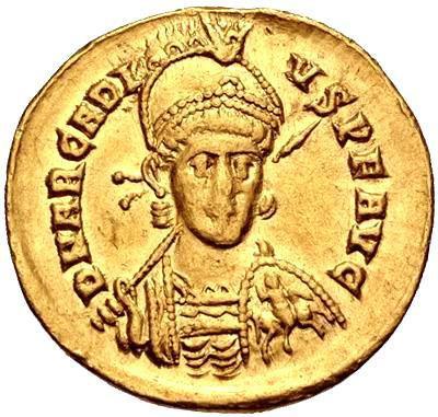 Moeda Romana Solidus de ouro de Arcadius 383-408 dC
