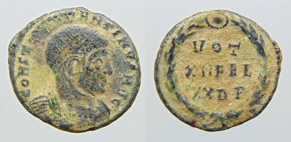 Constantino I. AE follis, Roma. 330 dC. RARA