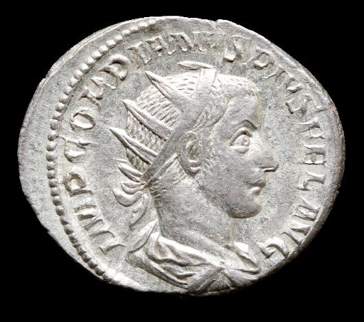 Moeda Romana Antoniniano de Gordian III (238-244 dC).