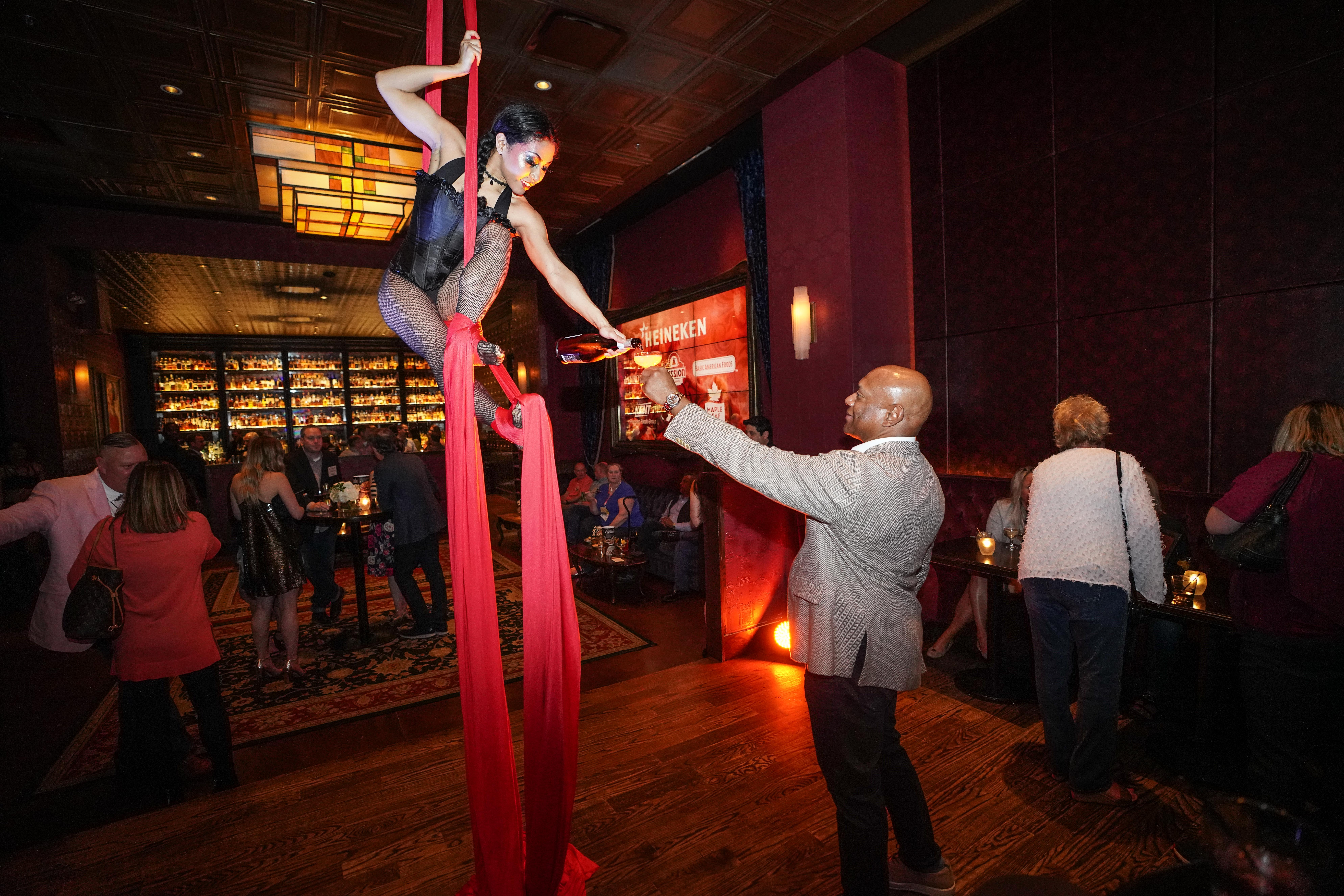 Champagne Aerialist at Event