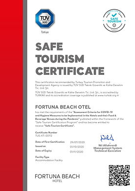 FORTUNA BEACH OTEL - Sertifika ENG 01.10