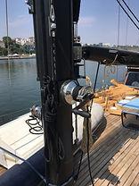 deck, hardware, winch, blocks, track, traveller, cars, marine, sail, boat